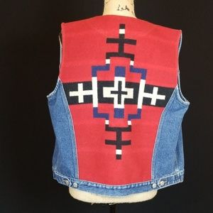 Pendleton Aztec wool back denim front vest Z415